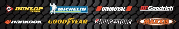 Dunlop, Michelin, Uniroyal, BF Goodrich, Hankook, Goodyear, Bridgestone, Maxxis