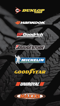 Dunlop, Michelin, BFGoodrich, Uniroyal, Goodyear, Hankook, Bridgestone, and Maxxis