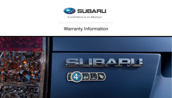 2013 subaru forester warranty and maintenance booklet