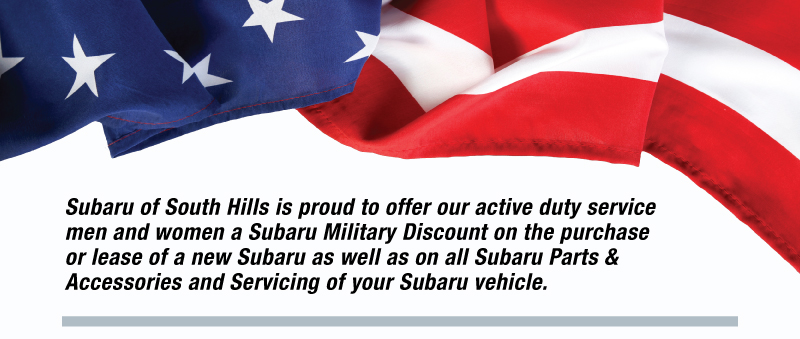 Subaru of South Hills is Proud to offer our Subaru Military Discount